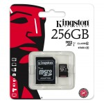 Card de memorie Kingston, MicroSDXC, 256GB, Class 10, UHS-I + Adaptor