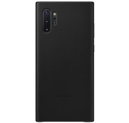 Husa Leather Cover pentru Samsung Galaxy Note 10+, Black