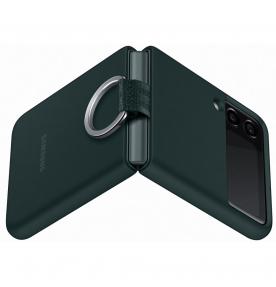 Husa Silicone Cover with ring pentru Samsung Galaxy Z Flip3, Green