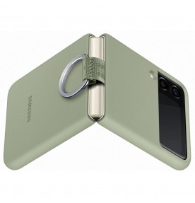 Husa Silicone Cover with ring pentru Samsung Galaxy Z Flip3, Olive Green