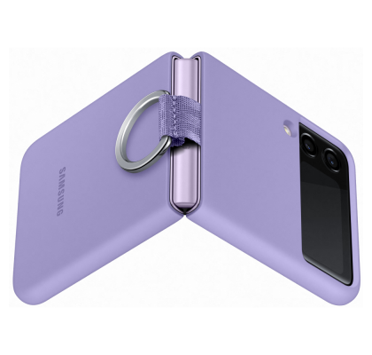 Husa Silicone Cover with ring pentru Samsung Galaxy Z Flip3, Violet