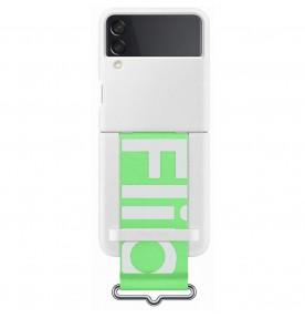 Husa Silicone Cover with strap pentru Samsung Galaxy Z Flip3, White