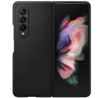 Husa Leather Cover pentru Samsung Galaxy Z Fold3 5G, Black