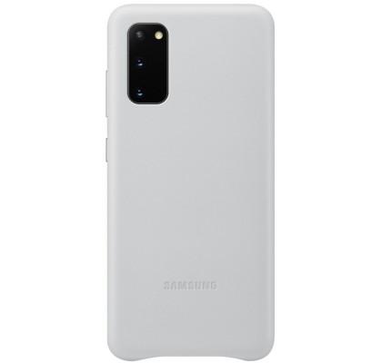 Husa Leather Cover pentru Samsung Galaxy S20, Light Gray