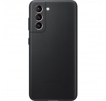 Husa Leather Cover pentru Samsung Galaxy S21, Black