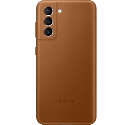 Husa Leather Cover pentru Samsung Galaxy S21, Brown