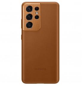 Husa Leather Cover pentru Samsung Galaxy S21 Ultra, Brown