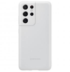 Husa Silicone Cover pentru Samsung Galaxy S21 Ultra, Light Gray