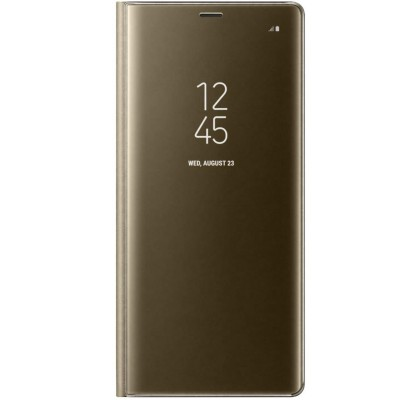 Husa Clear View Standing Cover Samsung Galaxy Note 8, Gold