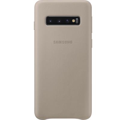 Husa Leather Cover pentru Samsung Galaxy S10, Gray