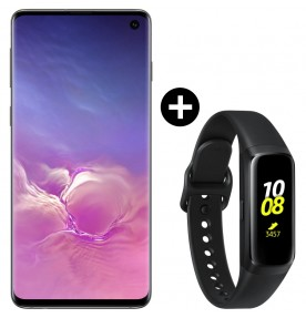 Pachet PROMO Samsung Galaxy S10, 128GB, Black + Galaxy Fit, Black