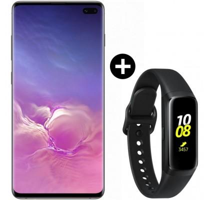 Pachet PROMO Samsung Galaxy S10+, 128GB, Black + Galaxy Fit, Black