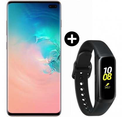 Pachet PROMO Samsung Galaxy S10+, 1TB, Ceramic White + Galaxy Fit, Black