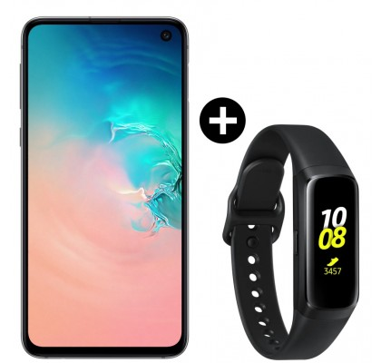 Pachet PROMO Samsung Galaxy S10e, 128GB, White + Galaxy Fit, Black