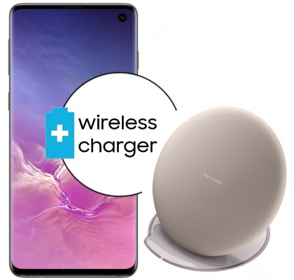 Pachet PROMO Samsung Galaxy S10, 128GB, Black + Wireless Charger