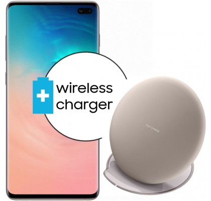 Pachet PROMO Samsung Galaxy S10+, 1TB, Ceramic White + Wireless Charger