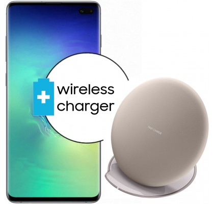 Pachet PROMO Samsung Galaxy S10+, 128GB, Green Tale + Wireless Charger