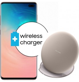Pachet PROMO Samsung Galaxy S10+, 128GB, White + Wireless Charger